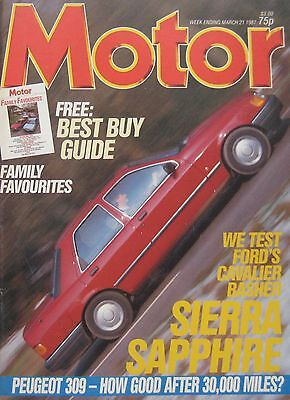 Motor magazine 21 March 1987 featuring Ford Sierra road test, Honda, Peugeot