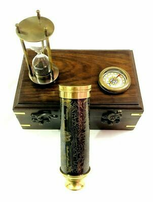 Nautical Brass Telescope with Sand Timer & Compass in Wooden Box Gift Set of 3
