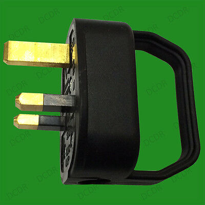 Black, 13A UK 3 Pin Mains Easy Pull Remove Plug, Grip Handle Elderly, Disability