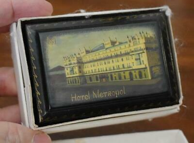 Rare Vintage Collectible Russian Black Lacquer Box #4 Image Of Hotel Metropol