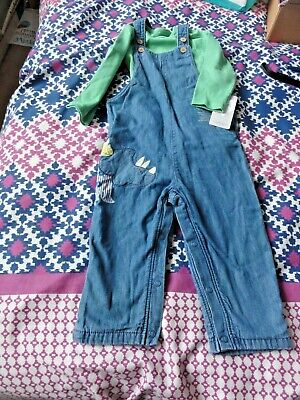 Baby Boy Outfit  12 18 Months Bnwt Dungarees & Top Marks & Spencer New Tags Cute