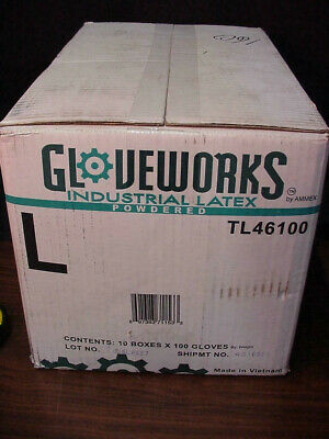 Case ofAmmex GLOVEWORKS Industrial Latex Powered Gloves Large / 10 Boxes Of 100