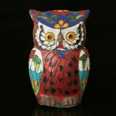 Chinese Exquisite Handmade Copper Cloisonne Enamel  The owl statue 30077