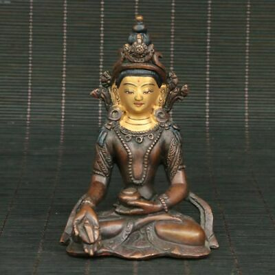 Chinese Exquisite Red copper Gilding Handmade  Herbalist Buddha Statue  31009