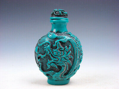 Turquoise Glazed Curly Dragon Phoenix Flower Blossom Carved Snuff Bottle #113019