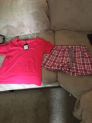 Ladies Womens Summer Pyjamas Shorts And Top Pink And Tartan