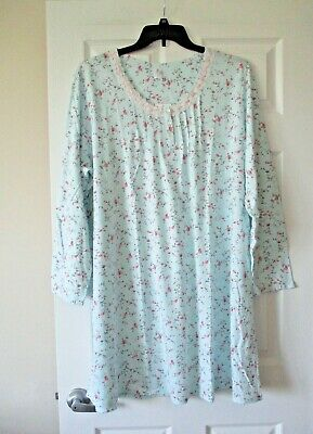 Aria womens  long sleeve short nightgown plus size 1X blue floral