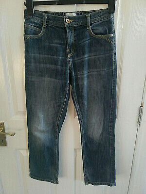 Marks & Spencer Indigo Boys Blue Denim Jeans Age 12 Years Inside Leg 25 Faded