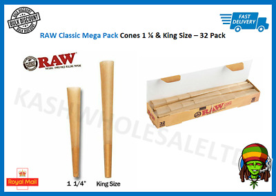 RAW Classic King Size & 1 1/4 Cones Pack 32 Cones - Pre Rolled Rolling Papers