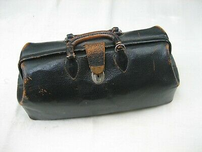 1920 Antique Doctor's Bag Physician's Medical Case Black Cow Hide
