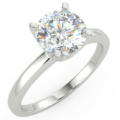 1.01 Ct Round Cut SI2/I Solitaire Diamond Engagement Ring 14K White Gold