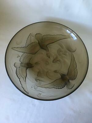 Large French Art Deco Verlys Glass Bowl With Birds & Fish - Signed