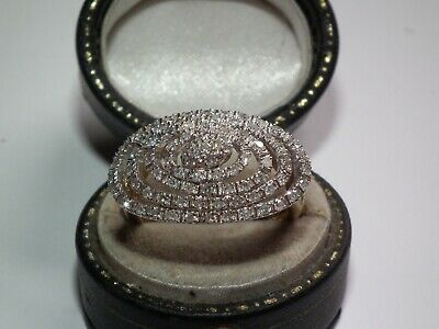 Huge 1 Carat Natural Diamond Encrusted Solid 9ct Gold Retro Ring, Superb Example