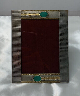 Vintage Picture Frame With Malachite Stones 3.5 X 5