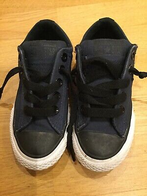 Boys Girls Converse All Star Navy Blue & Black Lace Up Canvas Trainers Size 10