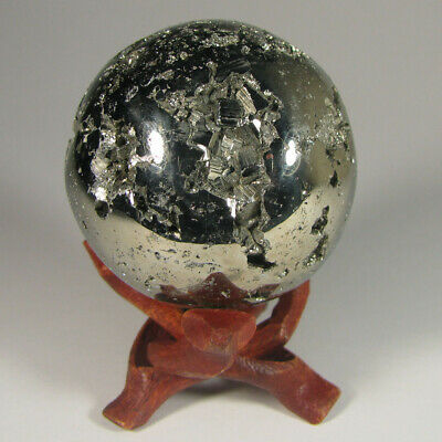 "2"" PYRITE SPHERE Polished Crystal Ball w/ Stand - Peru - 51mm"