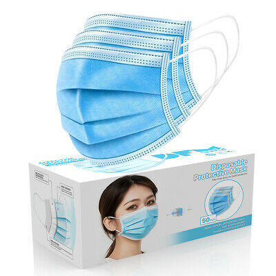 50 Pack - 3-Ply Disposable Procedural Face Mask Earloop Protective Mouth Cover