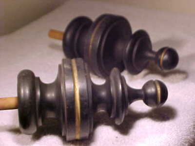 "Pair - Antique Turned WOODEN FINIALS - Large Size - 7"" Tall - 3 INCH BASE"