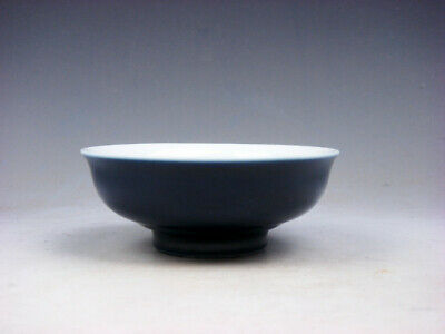 Monochrome Pure Dark Blue Glazed Porcelain Saucer Bowl #03032009