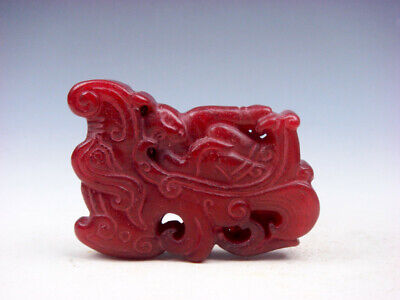 Old Nephrite Jade Stone Carved Pendant Baby Sleeping On Dragon Bed #04082008