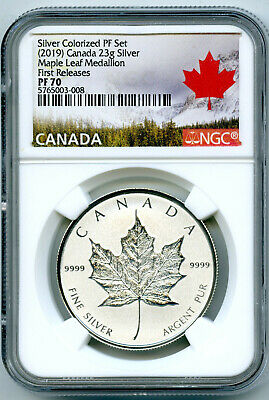 2019 23g CANADA SILVER MAPLE LEAF NGC PF70 REVERSE PROOF FIRST RELEASE MEDALLION