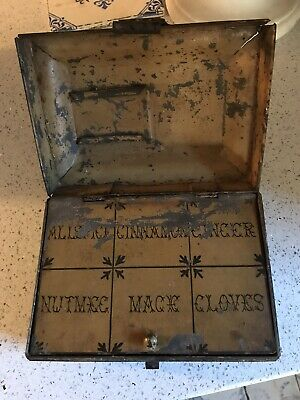 Early 19th Century English Hand Painted Toleware Spice Box  Spice Tin