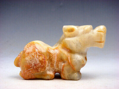 Old Nephrite Jade Carved Sculpture Seated FOO DOG LION #05261805C