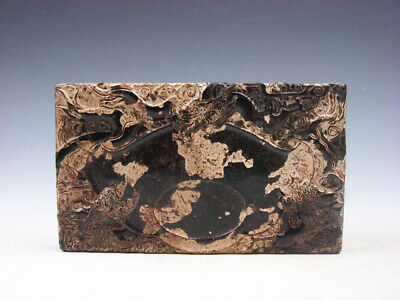 Old Nephrite Jade Stone Ink Slab Paperweight Furious Dragons & Clouds #04092007