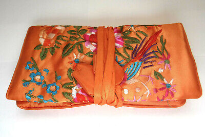Chinese Embroidery Orange Jewelry Travel Pouch Roll Silk