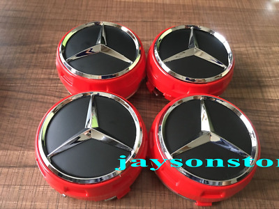 4x Wheel Centre Hub Caps 75mm Red AMG Alloy Cover Badge For Mercedes Benz UK