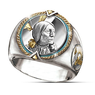 Ancient Eagle 925 Silver Round Ring Women Men Jewelry Gift Size 9