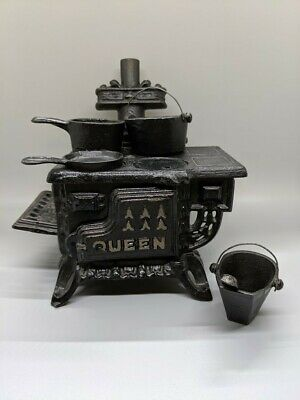 "Miniature, ""Queen"" Cast Iron Toy Stove"