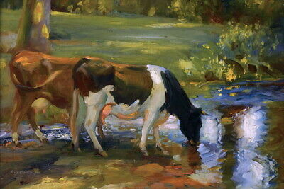 """Cows by the river Oil painting Art Giclee Printed on Canvas 16X24"""" P1399"""