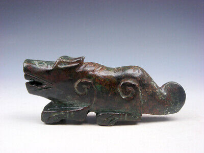 Old Nephrite Jade Stone Carved Sculpture Ancient Monster Lion #06062005
