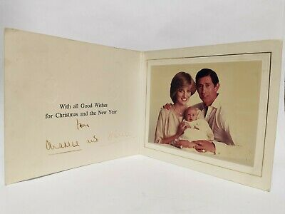 Princess Diana Prince Charles Hand Signed Autograph Christmas Card Signature '82