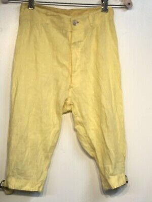 "Vintage 30's Childs Light Cotton/Linen Yellow Nickers Short Pants 24"" waist"
