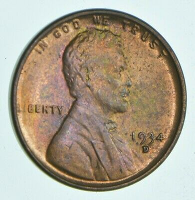 1934 D Lincoln Wheat Cent Penny Fine