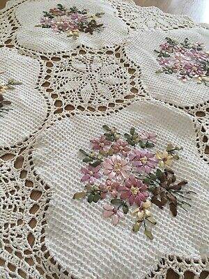 Beautiful Hand Silk Ribbon Embroidered Flower Crochet Table Cloth XL