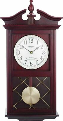 Old Vintage Retro Look Wall Clock - Dark Oak Effect Burgundy Colour Best Gift