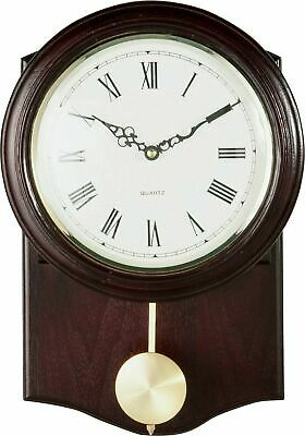 Old Vintage Retro Look Pendulum Wall Clock Brown  - Dark Oak Effect Best Gift