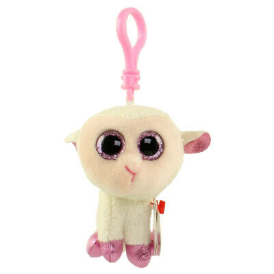 """Ty Beanie Boos Plush Set of 2 Twinkle the 6/"""" Lamb and Matching 3/"""" Clip"""