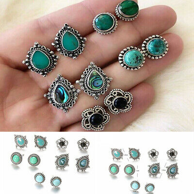 5Pairs/Set Women Vintage Turquoise Earrings Jewelry Ear Stud Boho Jewellery NEW