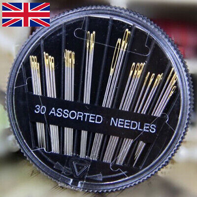30 X  Assorted Hand Sewing Needles - ASSORTED SIZES - EASY THREAD- Big Eye Sets