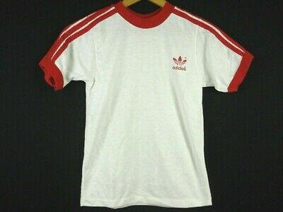 Vintage Boy's L(16-18) 70s 80s ADIDAS Trefoil Ringer Striped T-Shirt White & Red