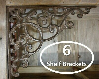 "(6) Huge Decorative shelf Brackets, Solid Cast Iron 13 inches x 11 1/2"", B-2"
