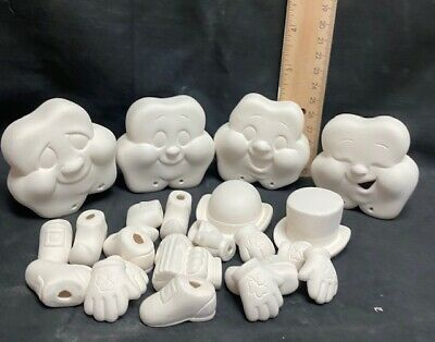 Donas Christmas Puppies Seasons Inserts Ready to Paint Ceramic Bisque Hand Poured in The USA