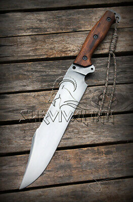 Custom Handmade D2 Tool Steel Tactical Fighting Hunting Bowie Knife With Sheath