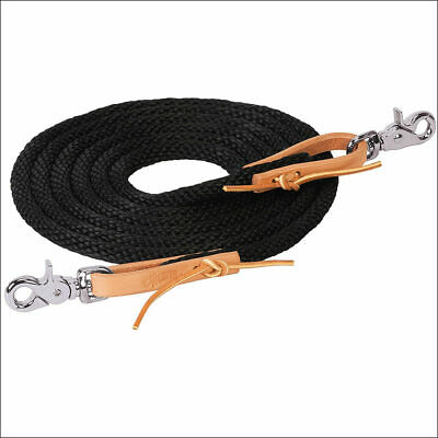 BLACK 8ft WEAVER HORSE POLY ROPING REINS W// LEATHER LACES LOOP ENDS U-6-S1