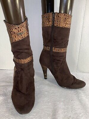 Destroy Made In Spain Tall high Heel Buckle Boots 07398 Brown Leather