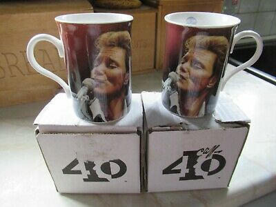 MUGS UNUSED NEW DANBURY MINT CLIFF RICHARD SET OF 2 BONE CHINA BEAKERS